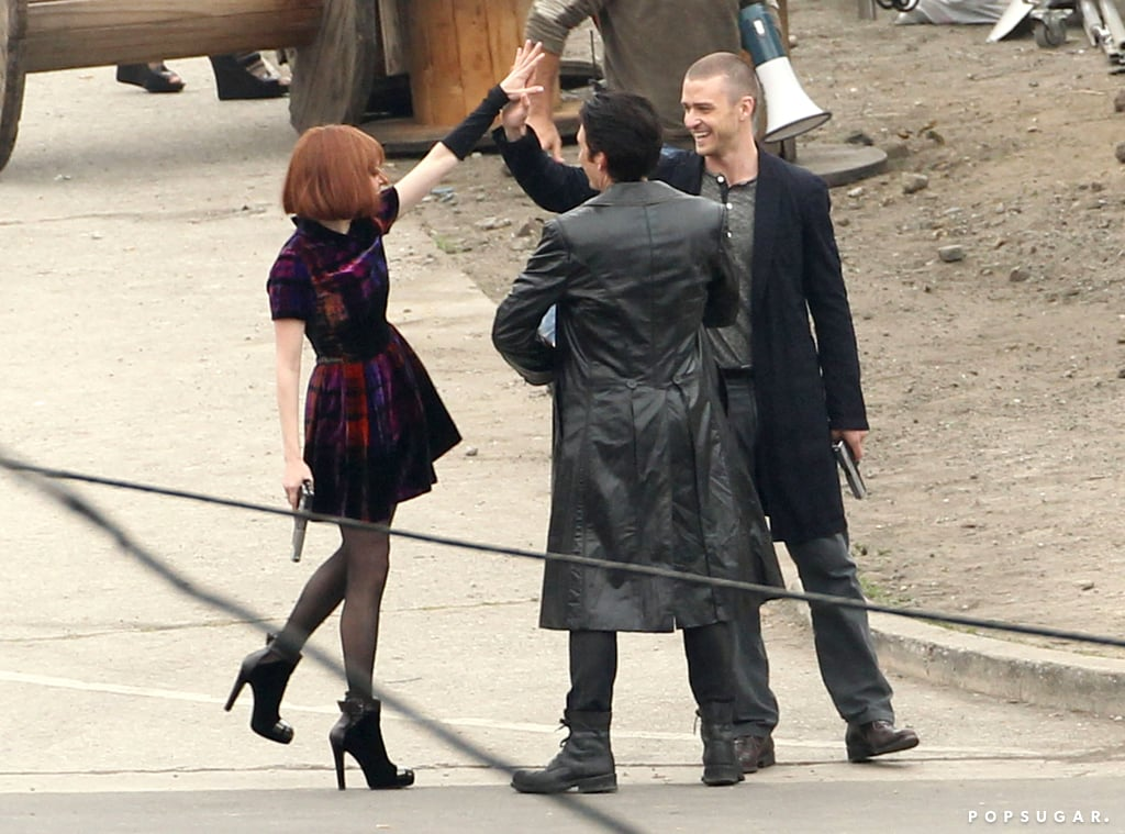 Amada Seyfried served some skin to Justin Timberlake while they shot In Time in LA together back in December 2010.