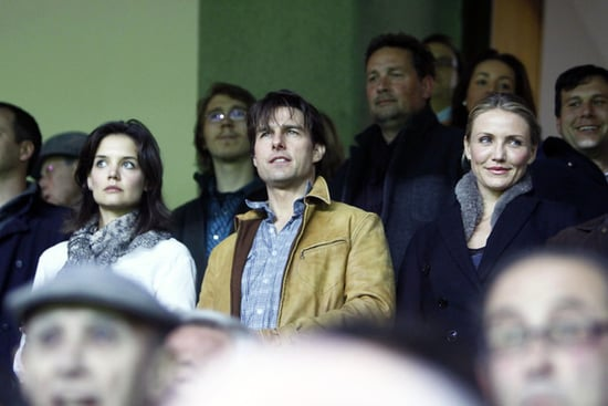 Tom,Katie and Cameron attend a soccer game in Sevilla