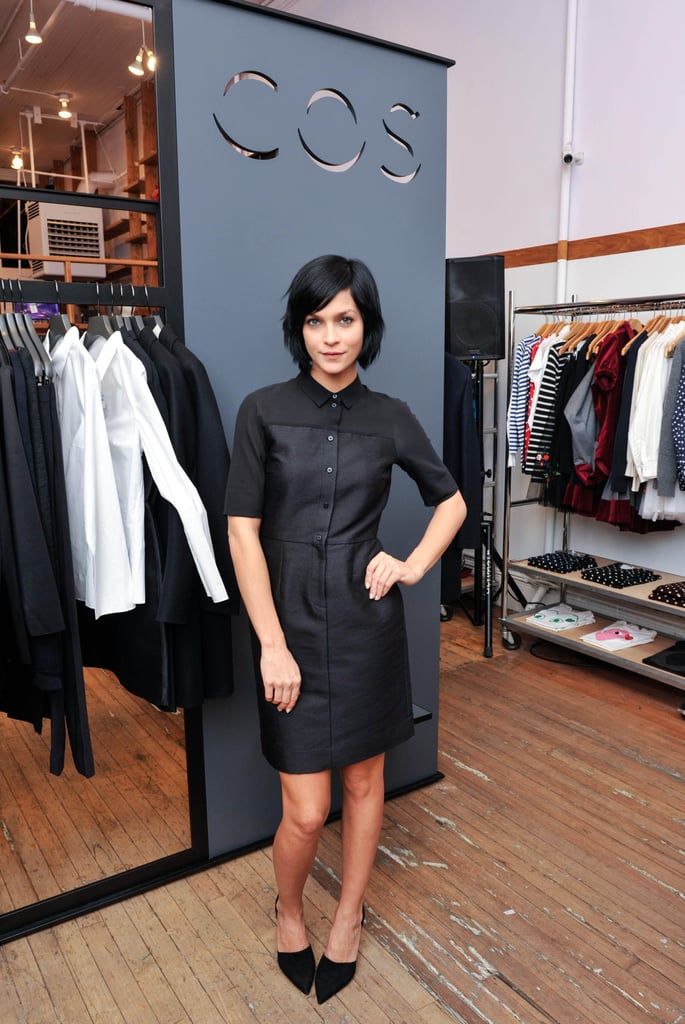 Leigh Lezark helped open the SoHo COS pop-up at Opening Ceremony in another all-black look.