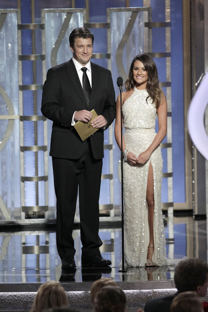 Lea Michele and Nathan Fillion brought Gleeks and geeks together when they presented at the Globes.