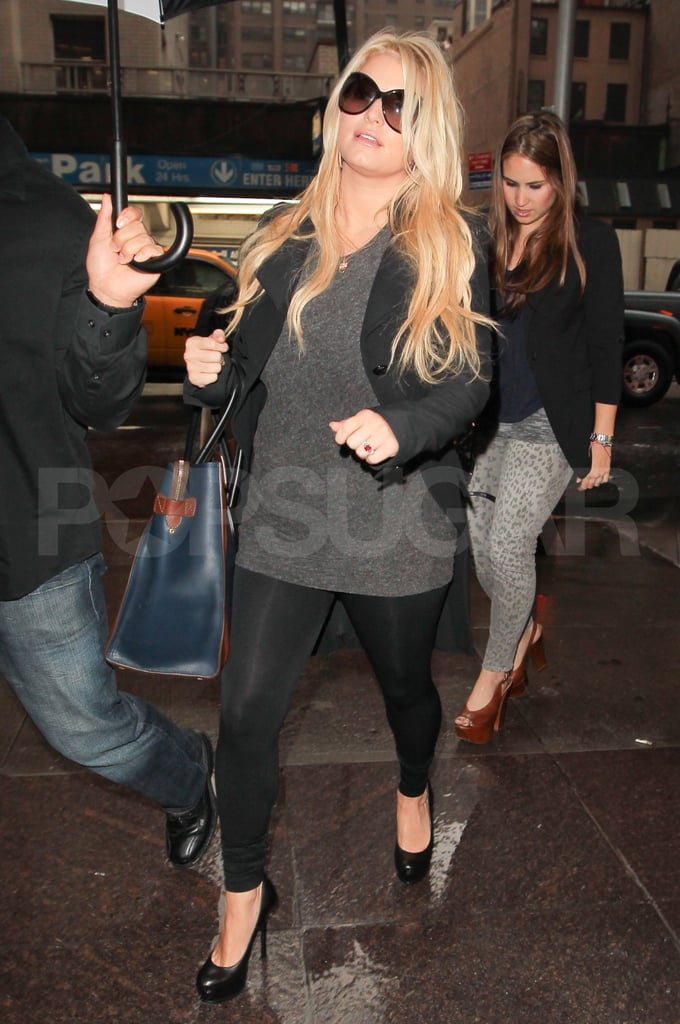 Jessica Simpson in leggings in NYC.