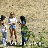 Miley Cyrus pictured wearing her engagement ring at a photo shoot.