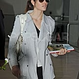 Jessica Biel arrived at Charles de Gaulle airport in Paris wearing her engagement ring.