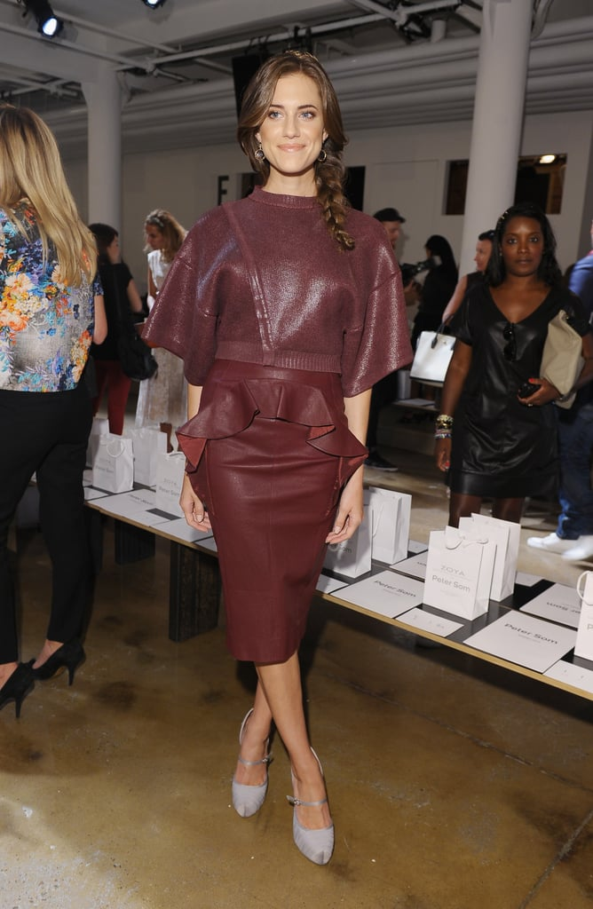 Girls actress Allison Williams stole our attention at the Peter Som Spring 2013 runway. With the rich burgundy colour and peplum flip, she couldn't be any more on trend.