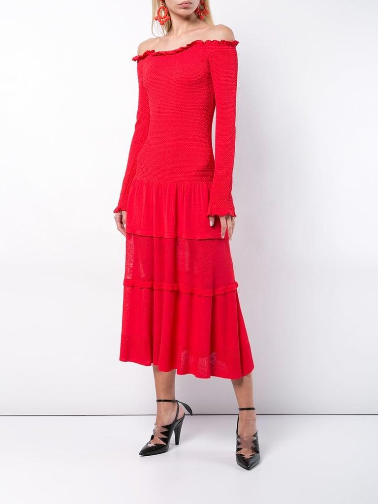 Altuzarra Smocked Off-the-Shoulder Maxi Dress