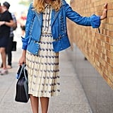 A little retro-feeling dress topped with a not-so-retro studded jacket added up to a serious style moment.