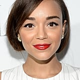 Ashley Madekwe stepped out on the red carpet with a classic cherry lip using Infallible Le Rouge in Refined Ruby ($10), and she tucked her hair under for a faux bob.