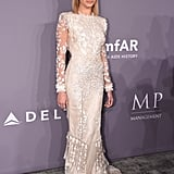 At the 2018 amfAR Gala in New York in February, Hailey opted for this glamorous Roberto Cavalli Fall 2017 gown.