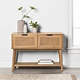Wood and Cane Console Table With Drawers