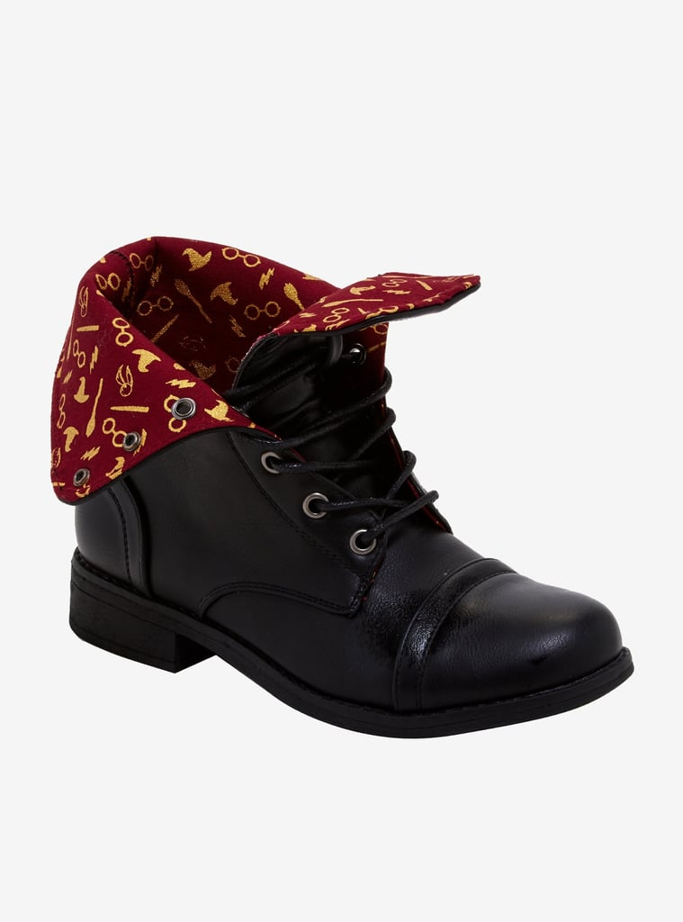 Harry Potter Wizard Print Fold-Over Combat Boots
