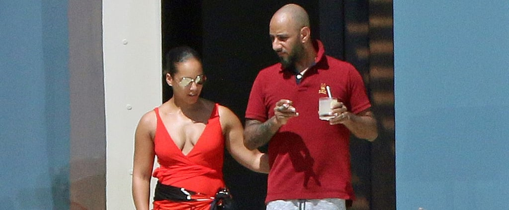 Alicia Keys Wearing a Red Swimsuit
