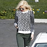Gwen Stefani wore a black-and-white top for a day out in LA.