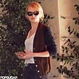 Emma Stone met Andrew Garfield for lunch at LA's Sunset Tower.