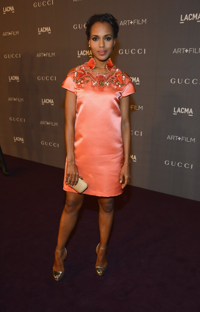 Kerry Washington played to the Asian-inspired trend in a satin Gucci mini with an embroidered neckline.