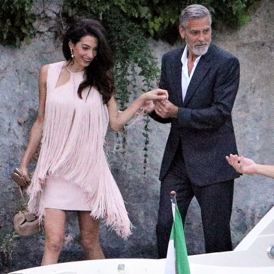 Amal Clooney Wore a Pink Fringe Dress For Date Night in Como