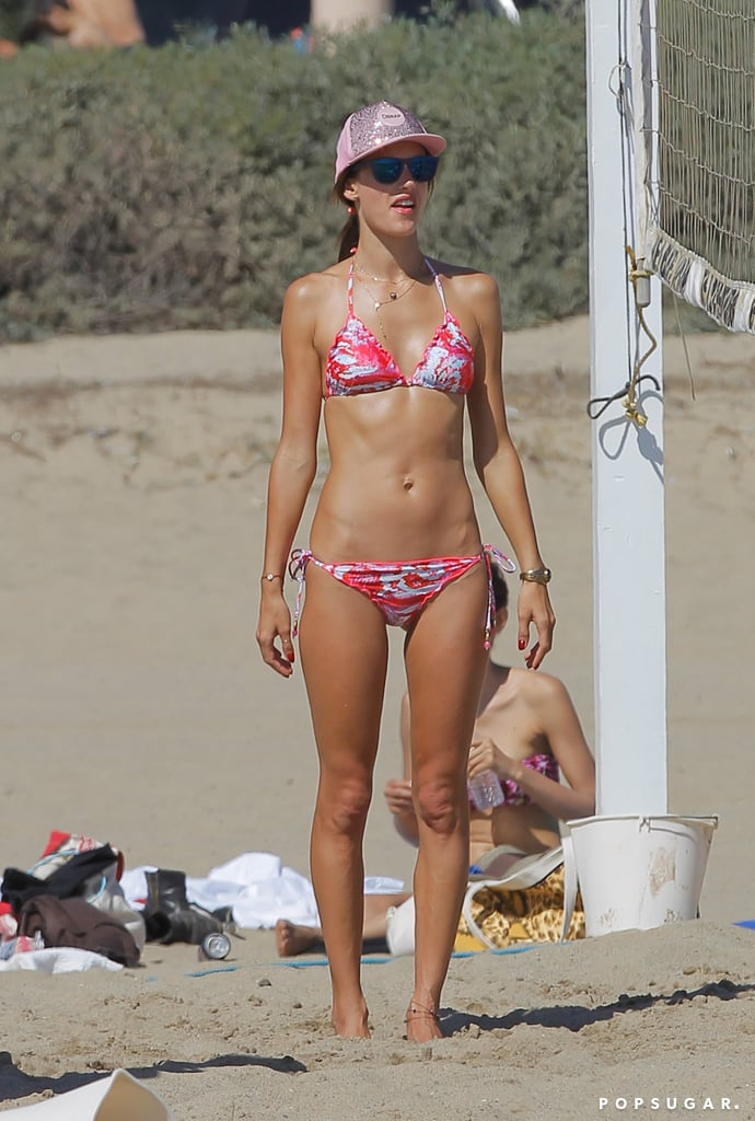 Alessandra Ambrosio soaked up the sun on the sand.