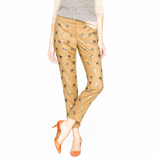 If dresses aren't your cup of tea, why not try a pair of embellished pants to sparkle in at your next holiday party?