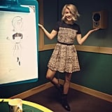 Julianne Hough took a photo next to a doodle of herself. Source: Instagram user juleshough