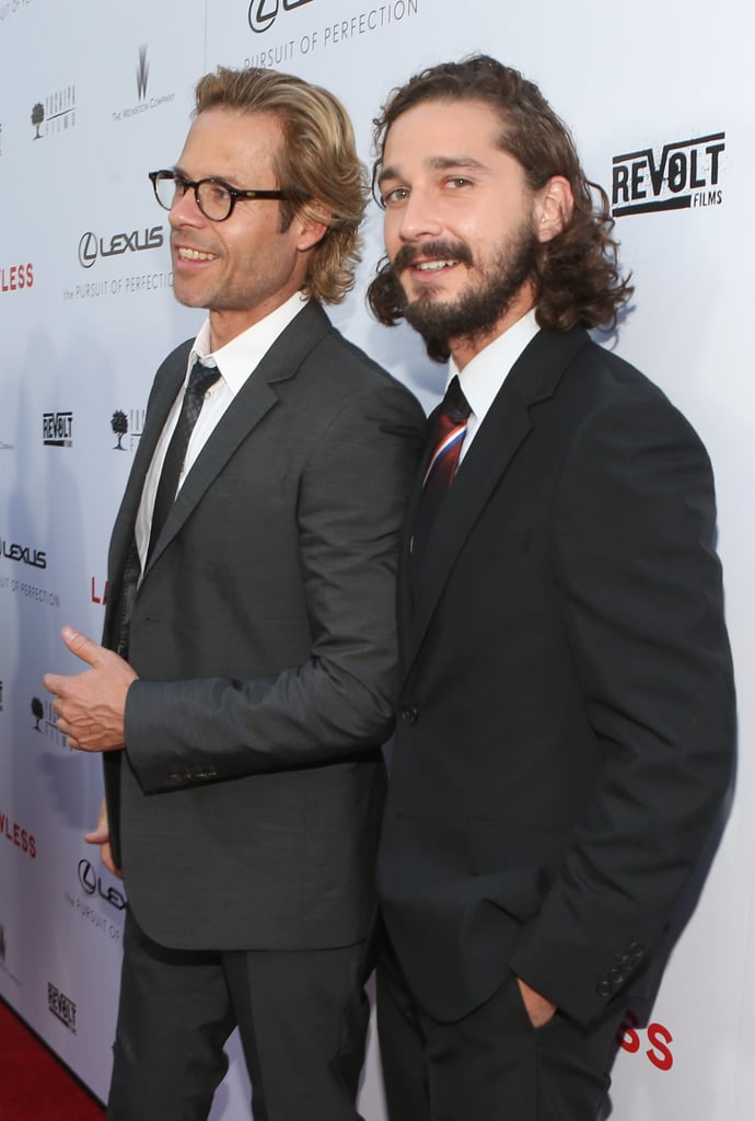 Co-stars Guy Pearce and Shia LaBeouf smiled at the LA premiere of their new film, Lawless.