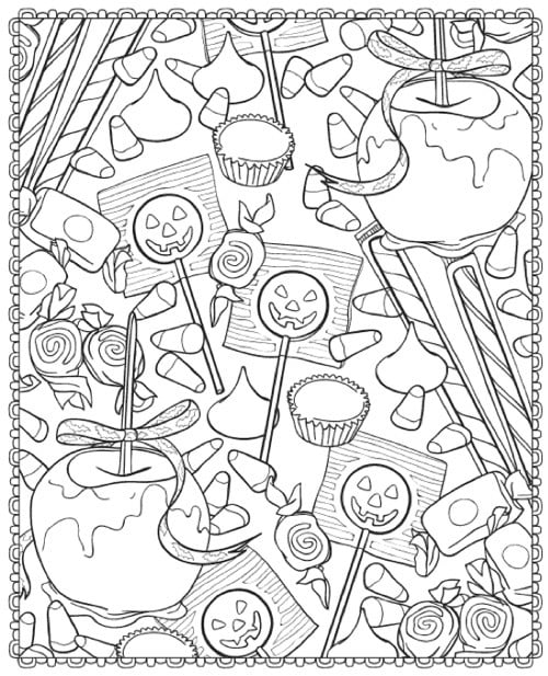Get the coloring page: candy | Halloween Coloring Page Printables ...
