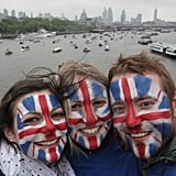 Fans painted their faces with flags.
