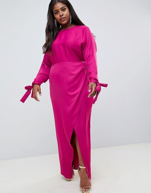 d2576fd594a35 ASOS Curve Satin Batwing Sleeve Maxi Dress
