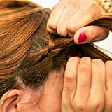 Continue to braid like a normal three-strand braid, adding in hair as you go along to create your woven headband.