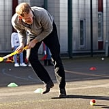 He play hockey with kids during his visit to Streetgames' Fit and Fed event in London in February 2018.