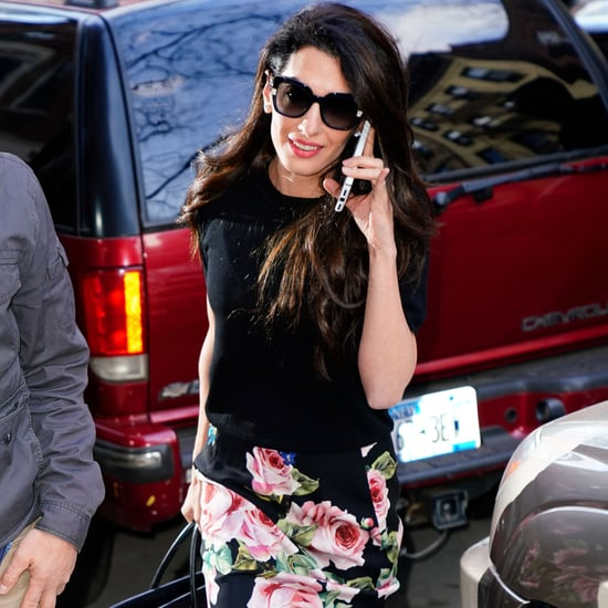 Amal Clooney Floral Skirt and Black and White Heels in NYC