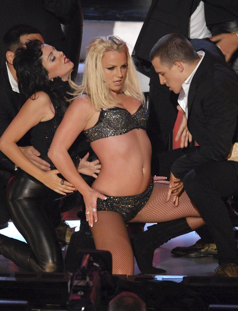 Britney Spears was barely dressed on stage at the 2007 Video Music Awards in Las Vegas.