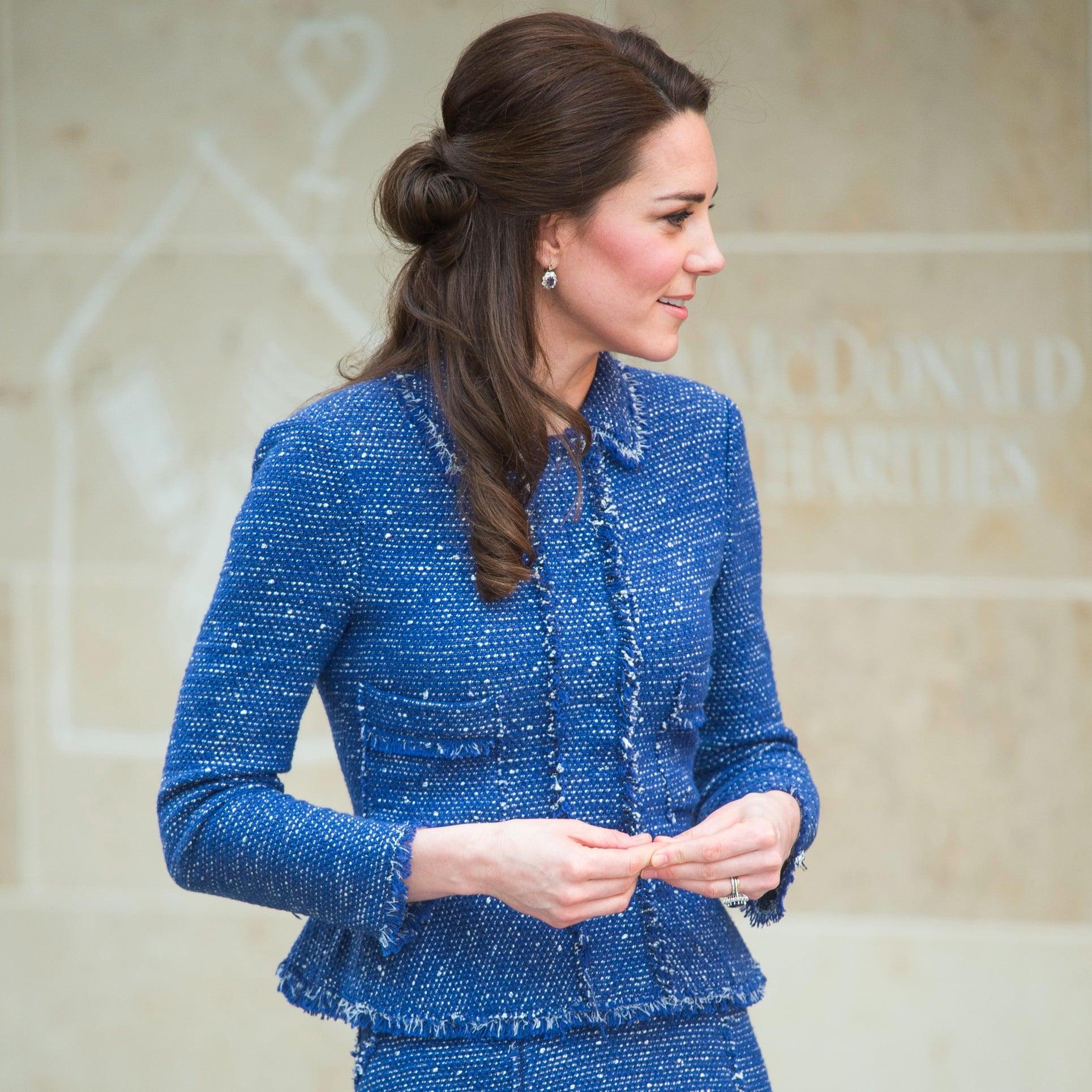139fb4545560 Kate Middleton s Blue Rebecca Taylor Suit