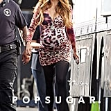 Sofia Vergara sported a baby bump on the set of Modern Family in LA.