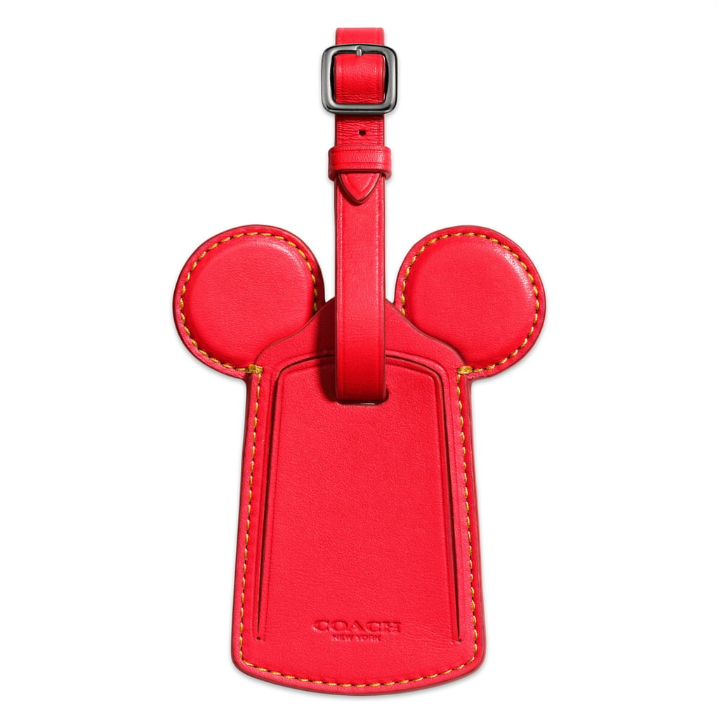 Mickey Mouse Ears Leather Luggage Tag by Coach — Red ($60)