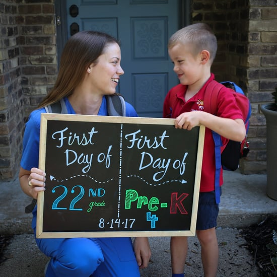 Mom and Son's First-Day-of-School Photo