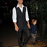 Matthew McConaughey held tight to Levi's hand as they walked through the Empire Hotel together.