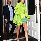 Kendall Jenner Clear Heels With Neon Shirt