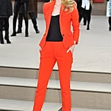 Rosie stunned in this bright Burberry suit when she attended the brand's Autumn/Winter '13 womenswear show in London.