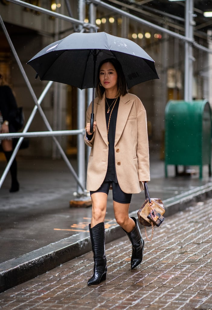 Aimee Song Wearing Biker Shorts and Cowboy Boots