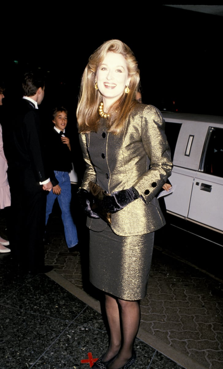 Can You Dye Carpet >> Meryl wore a metallic gold suit with velvet gloves to the 1989 Golden | Meryl Streep Red Carpet ...