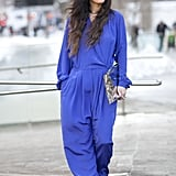 A '70s-inspired bold jumpsuit lent a unique angle to this Winter style moment.