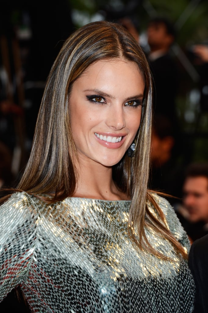 Sleek and glossy for Alessandra Ambrosio.