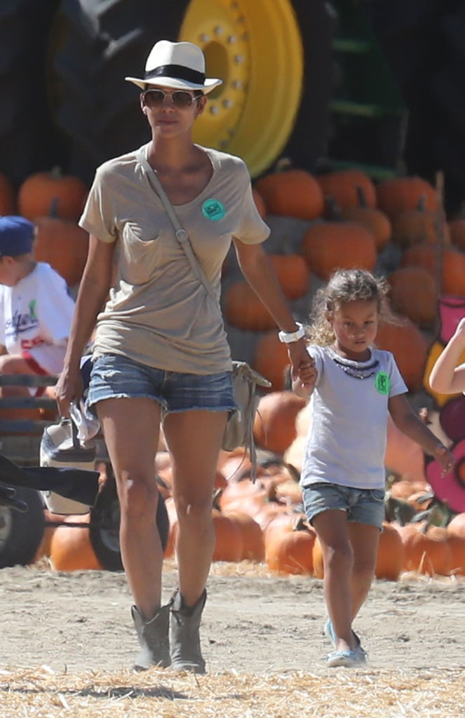 Halle Berry and her daughter Nahla didn't waste any time getting into the Halloween spirit on the first day of October. They visited a Simi Valley pumpkin patch where Nahla took a tractor ride and posed with her young friends. Halle's fiancé, Olivier Martinez, wasn't along for the Fall fun, but Nahla's dad Gabriel Aubry did join them. He left separately with a bag of mini pumpkins in hand.  Halle's getting back to her LA routine after taking a trip to Canada to promote Cloud Atlas last month. She and costar Tom Hanks hit the red carpet and chatted with press about the highly anticipated film — watch our review of Cloud Atlas. Halle will be back in front of the cameras soon to promote the movie ahead of its Oct. 26 release.