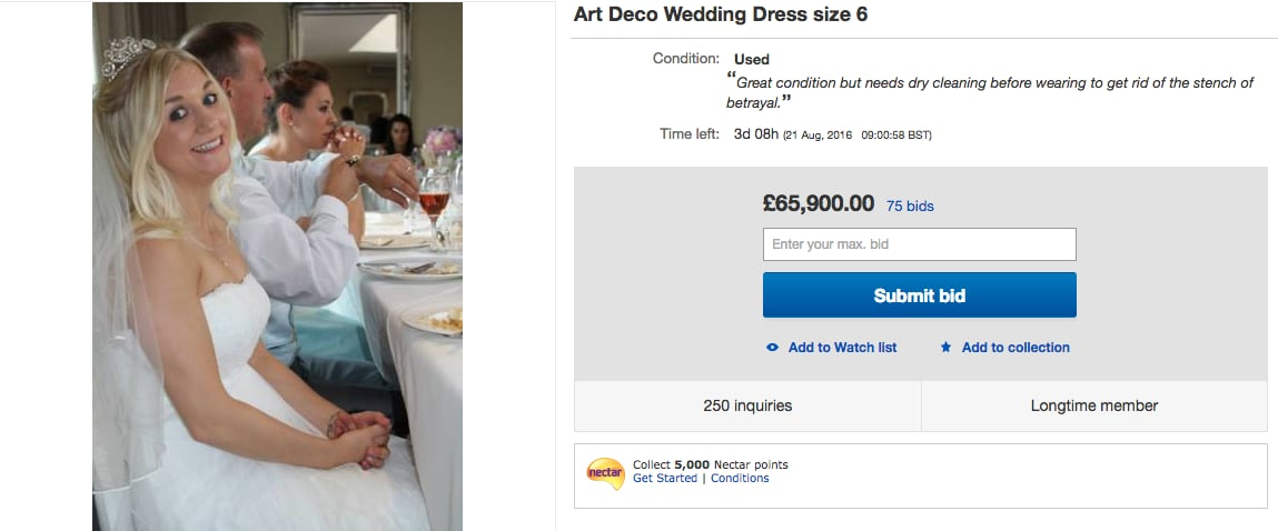 Original Story When UK Woman Samantha Wragg Listed Her Wedding Dress On EBay She Didnt Receive A Lot Of Responses From Potential Buyers