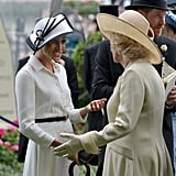 The duchesses shared a moment during the first day of the Royal Ascot at Ascot Racecourse in June.