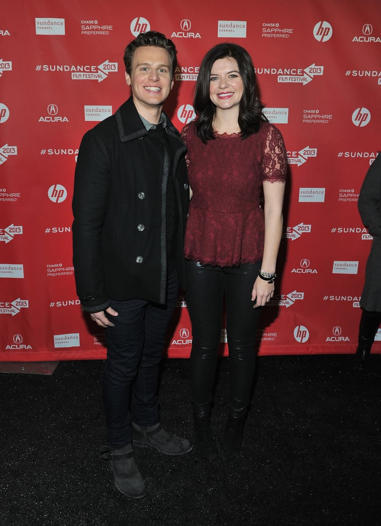 Casey Wilson and Jonathan Groff posed together on the red carpet at the C.O.G. premiere at Sundance on Sunday.