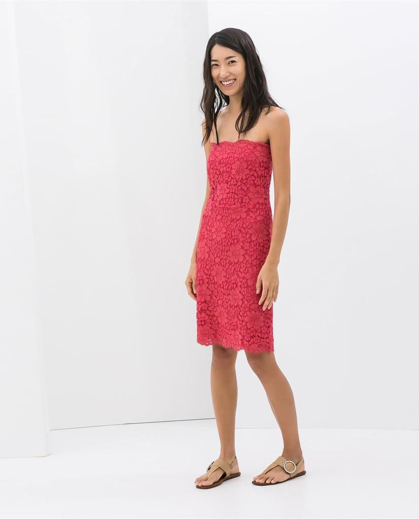 Zara pink strapless lace dress ($90)