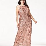 Morgan & Company Sequin-Patterned Backless Gown