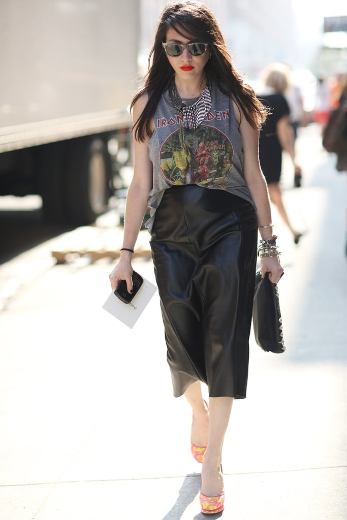 This leather skirt got a 'laxed finish with a distressed tee. Source: Greg Kessler