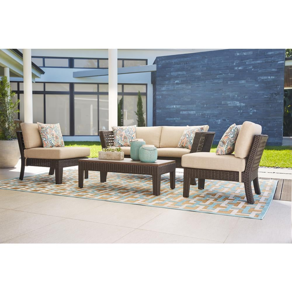Hampton Bay Tyler 4-Piece Steel Wicker Conversation Set With Cushions