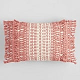 Pink Geo Fringe Indoor Outdoor Lumbar Pillow